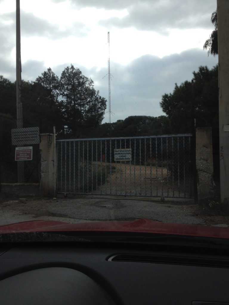 "Photo of the main entrance at Kavouri Non-Directional-Beacon (NDB) ""KVR"" site — at Kavouri, Vouliagmeni, Athens, Greece."
