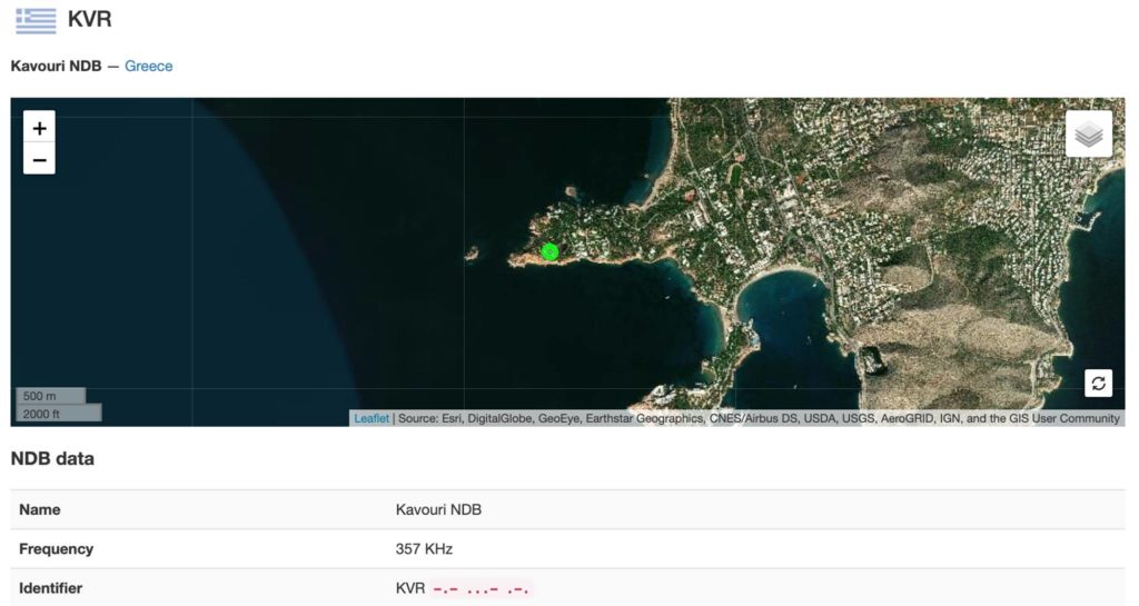 "Kavouri Non-Directional-Beacon (NDB) ""KVR"" Position — at Kavouri, Vouliagmeni, Athens, Greece"