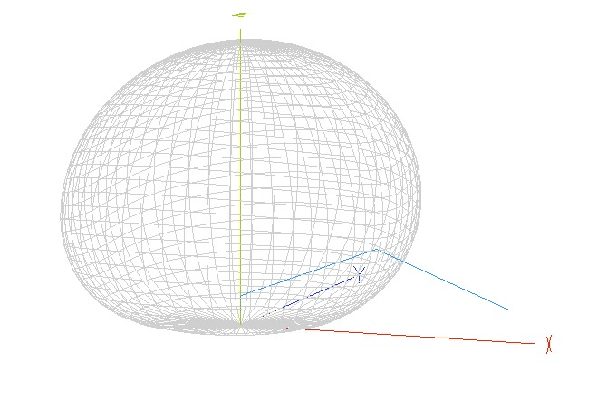 80m (3.55MHz) 3D Radiation Diagram of End-Fed Half Wave Antenna