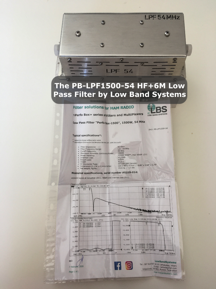 The Low Band Systems PB-LPF1500-54 HF+6M Low Pass Filter with Data-Sheet and Unit Test Report
